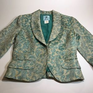 Marciano Brocade Blue and Tan fitted jacket